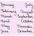 names of the months vector image vector image