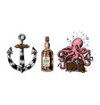 nautical anchor and glass bottle sea octopus vector image vector image