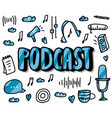 Podcast lettering with decoration design