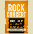 rock concert retro poster design on old paper vector image vector image