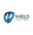 shield initial letter dp logo concept design vector image vector image