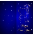 sketch of sheep symbol New Year on blue Background vector image