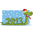 Snake With Santa Hat vector image vector image