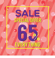 Special Offer 65 Percent On Colorful Pink Bubbles vector image vector image
