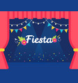 stage with flags and lights garlands and fiesta vector image
