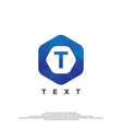 t letter logo on polygonal style vector image vector image