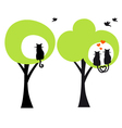 trees with cats and birds vector image
