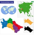Turkmenistan map vector image vector image