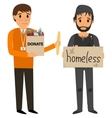 Volunteer and homeless vector image
