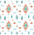 Fishing pattern in naive lino style vector image