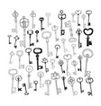 vintage doodle keys silhouettes isolated on white vector image