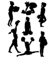 Collection of silhouettes of children of cheerlead vector image