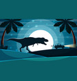 dinosaur is after the car vector image