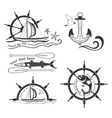 Labels marine theme hand drawing vector image