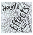 A Primer on Medical Acupuncture Word Cloud Concept vector image