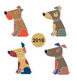 a set of dogs symbol of the chinese new year 2018 vector image