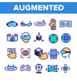 augmented virtual reality linear icons set vector image