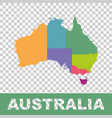 australia map color with regions flat vector image vector image