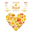 Beach party invitation in yellow color vector image vector image