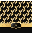 Black and gold background with a horizontal strip vector image vector image