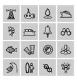 Black nautical icons set