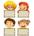 blank sign template with happy children on white vector image vector image