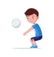 boy volleyball player takes ball vector image vector image