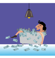 businessman lying on the money vector image vector image