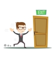 Businessman running to opened door vector image