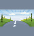 cartoon landscape with road higway and summer vector image vector image