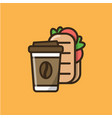 coffee drink and ciabatta sandwich vector image vector image