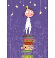 Cute Little Princess Girl Standing on Stack of vector image