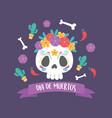 day dead skull catrina flowers bones vector image vector image
