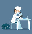 doctor looking into a microscope vector image
