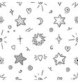 doodle star seamless pattern magic party sketch vector image vector image