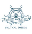 engraving nautical emblem vector image vector image