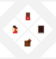 flat icon bitter set of cocoa chocolate dessert vector image vector image