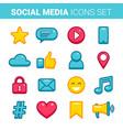 flat outline social media icons set vector image