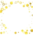 Gold glittering foil circles on white background vector image vector image