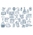 hand drawn doodle school icons and symbols vector image vector image