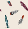 hand drawn seamless background colored feathers vector image