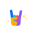 hand sign rock fun sticker colorful fun sticker vector image