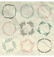 Hand Sketched Floral Frames Borders on Crumpled vector image vector image