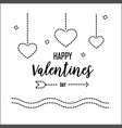happy valentines day greeting card with dash line vector image vector image