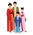 japanese family man and woman with boy vector image