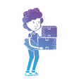 line delivery man with boxes packages with check vector image
