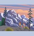 manwoman children family hikers traveling vector image