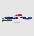 map gambia with an official flag on white vector image vector image