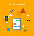 mobile marketing style flat collection vector image