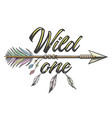 native american indian arrow with wording wild vector image vector image